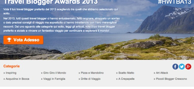 Travel Blogger Awards 2013: vota e vinci un voucher voli da 150 euro