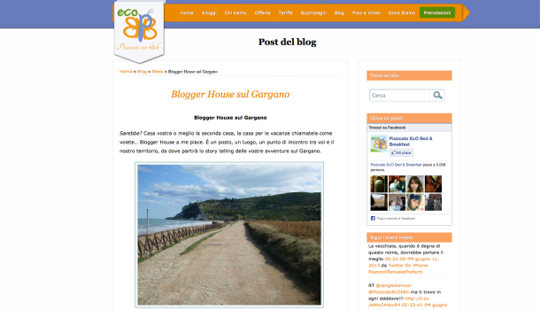 blogger house pizzicato eco b&B