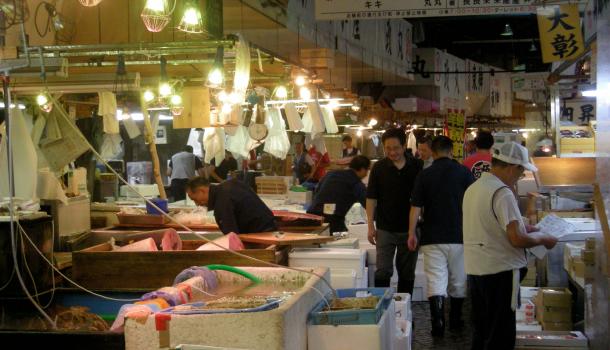 Tsukiji Fish Market a Tokyo