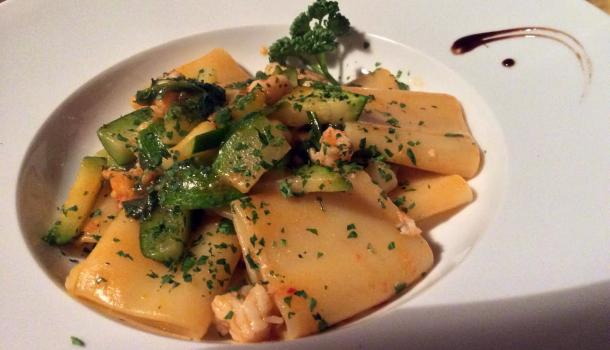 Tortiglioni gamberetti e zucchine