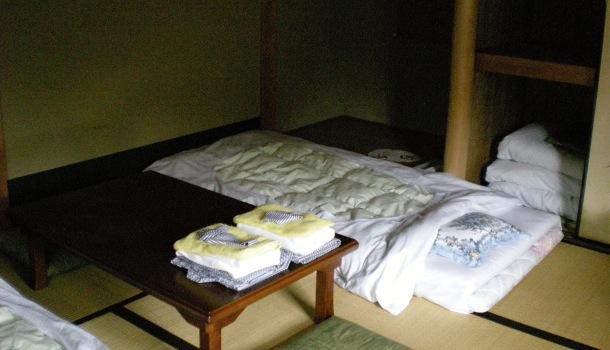 futon in un ryokan
