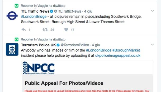 esempi di retweet su emergenza