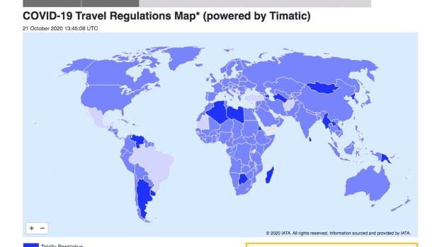 mappa iata viaggiare all'estero ai tempi del covid 19